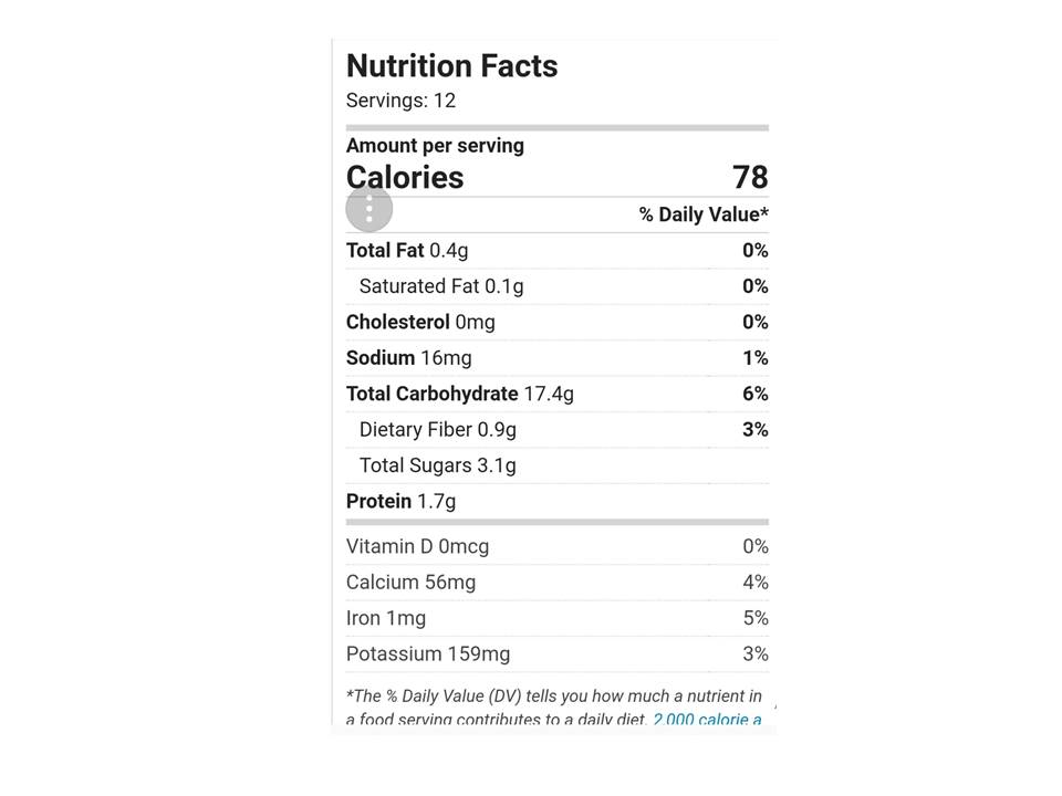 Lotties Cornbread Mix Nutritional Information